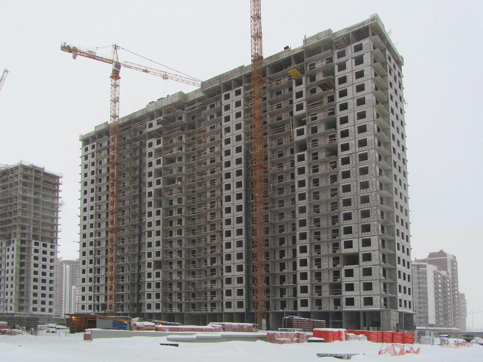 Ход строительства жилого комплекса, II очередь, 25.01.2019